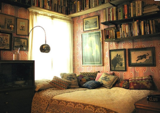dark pink room with library bed and reading nook