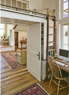 reading nook lofted above and office space white